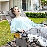 SONGMICS Gartenstuhl Sonnenliege Schaukelstuhl mit Kopfstütze grau - 5