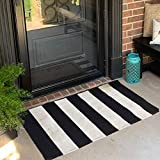 USTIDE 2'x3' Cotton Braided Area Rug Black&White Striped Stripe Doormat Farmhouse Layered Door Perfect for Front Door Porch Outdoor Rug