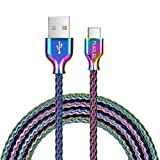 USB Type C Cable,Fantany 6.6 Feet Metal USB A to C Charging Cable&Sync Compatible with Galaxy S10,S9,S9+,S8,S8+,Note 8,9,LG V40,50 G7,8, Pixel 2,3,HTC 10,Nexus 5X/6P, 3.3Feet,1Pack (Colourful, 6.6ft)