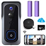 【2021 Upgraded】 WiFi Video Doorbell Camera, Morecam Wireless Camera Doorbell with Chime, 1080P HD, Motion Detection, Night Vision, 2-Way Audio, Cloud Storage(Optional) and 32 GB SD Card Included