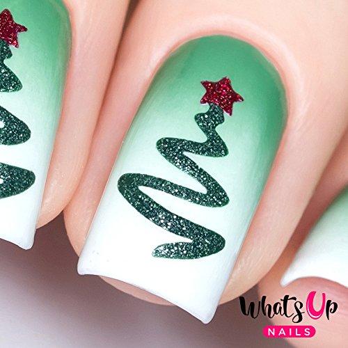 Whats Up Nails - Ribbon Tree Vinyl Stencils for Christmas Nail Art Design (1 Sheet, 20 Stencils)
