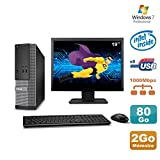 Dell Lot PC Optiplex 3020 SFF Intel G3220 3GHz 2Go 80Go DVD W7 + Ecran 19in...