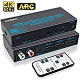 HDMI Switch 3 in 1 out, Koopman 4K@60Hz HDMI 2.0 Switcher Audio Extractor Splitter with Remote, Optical SPDIF, Analog RCA Stereo Audio Converter, Support ARC HDCP2.2, 3D, Dolby TrueHD/DTS Audio