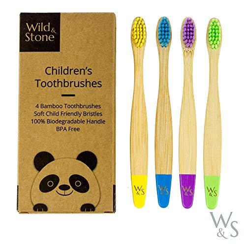 Wild & Stone | Spazzolino Ecologico per Bambini in Bambù Vegano | Quattro Colori | Soffice fibra setole | 100% biodegradabile Maniglia