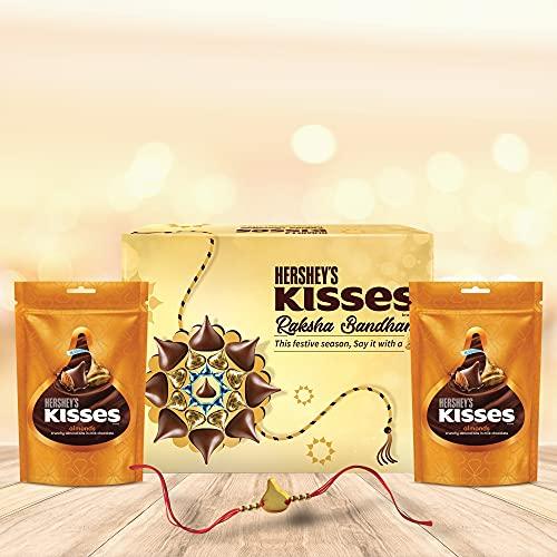 HERSHEY'S Kisses Chocolate Rakhi Gift Pack -Whole Almond Variant | with Special Kisses-Shaped Rakhi | 1 Gift Hamper (2*100gm Pack)+ Rakhi|| Celebration Gift Pack for Rakshabandhan