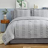 Bedsure Full/Queen Comforter Set 8 Piece Bed in A Bag Stripes Seersucker Soft Lightweight Down Alternative Grey Bedding Set 88x88 inch