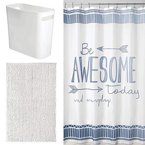 mDesign 3 Piece Decorative Bathroom Decor Set - Fine Weave Polyester Fabric Shower Curtain, Striped Microfiber Non-Slip Bathroom Accent Rug, Wastebasket Trash Can - Mint/Gray/White