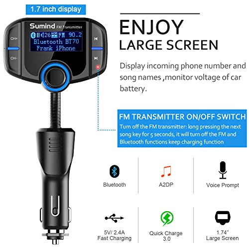 Product Image 5: (Upgraded Version) Bluetooth FM Transmitter, Sumind Wireless Radio Adapter Hands-Free Car Kit with 1.7 Inch Display, QC3.0 and Smart 2.4A Dual USB Ports, AUX Input/Output, TF Card Mp3 Player
