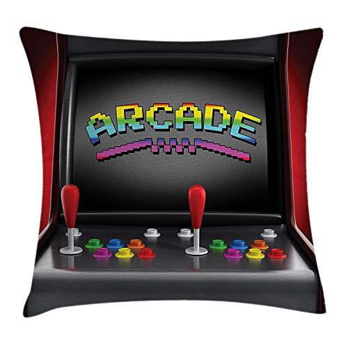 vikkk Videojuegos Throw Pillow Cushion, Arcade Machine Retro Gaming Fun Joystick Buttons Vintage 's' s, Funda de Almohada Decorativa con Detalles Cuadrados, 66x50CM