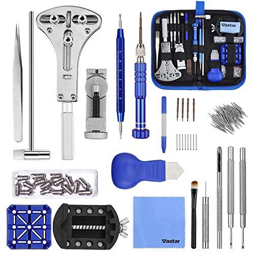 Vastar 177 pezzi Kit di riparazione di orologi Strumenti di riparazione professionali per orologi,...