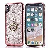 Aokikeisu スマホケース リング iPhoneXR ケース クリア 花 きらきら iPhoneXrケース 透明 シ……