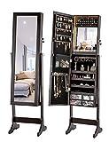 LUXFURNI - Armario con luz LED para joyer¨ªa, Espejo de pie con Armario, Gran Organizador de Almacenamiento con cajones