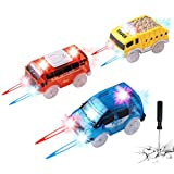 Track Cars Replacement Only Light Up Toy Cars for Magic Tracks and Neo Tracks with 5 Flashing LED Lights Racing Car Track Accessories Compatible with Most Tracks for Kids Boys Girls Best Gifts 3Pack