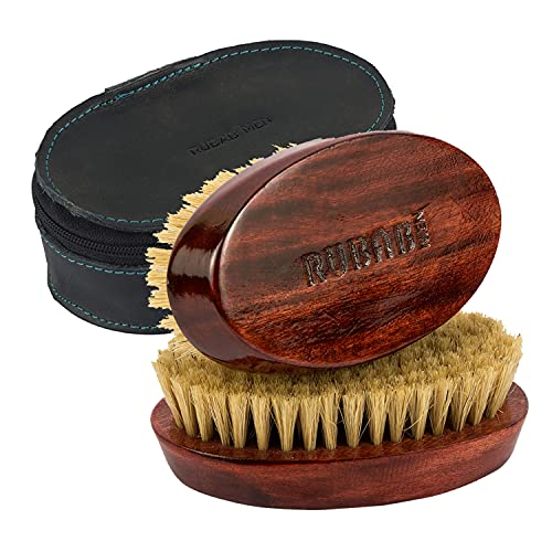 RUBAB MEN 100% Boar Bristle Beard Brush with Hand Crafted Premium Mango Wood Handle for Men | Comes with Vegan Leather Pouch