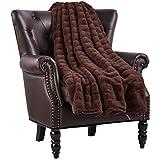 Home Soft Things Super Mink Faux Fur Throw, 50' x 60', Chocolate