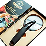 BEST DELUXE PROFESSIONAL PIZZA CUTTER WHEEL with Safe Blade Cover Rocker Knife - Heavy Duty Handle & Large Razor Sharp Stainless Steel Slicer for Waffle Cookie Dough Pie - Chef Choise - by Vinzard