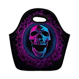 Semtomn Neoprene Lunch Tote Bag Blue Black Screaming Skull in Mirror Purple Bloody Mary Reusable Cooler Bags Insulated Thermal Picnic Handbag for Travel,School,Outdoors,Work