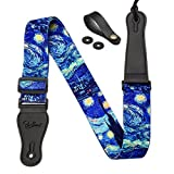 Van Gogh 'Starry Night' Guitar Strap Includes Strap Button & 2 Strap Locks. Adjustable Guitar Shoulder Strap For Bass, Electric & Acoustic Guitar.Best Birthday Gift for Men Women Guitarist