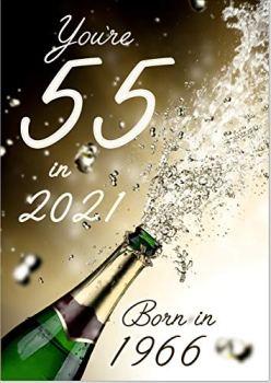 Doodlecards 55 in 2021 Year Born Age 55 Birthday Card - 55th Male or Female - Medium