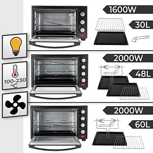 Forno Elettrico - 30/48/60 l, 1600/2000 W,con/senza Girarrosto, Temperatura 100-230C, Timer, Doppio...