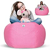 Kroco Stuffed Animal Storage Bean Bag Chair Cover - Extra Large Stuff and Sit Organization for Kids Toy Storage - Stuffable Beanbag for Stuff Toys - Available in a Variety Colors - 38´´ Pink