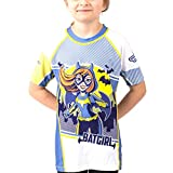 Fusion Surf Batgirl Kids Rash Guard Compression Shirt- Short Sleeve (M) White