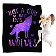 """SIZE: Twin size 39"""" x 49""""; Full size 49"""" x 59""""; King size 59"""" x 79"""" wolf blankets and throws for sofa bed couch, also good choice for kids and adults. Digital Print, perfect for someone with elegant tastes in decoration home. QUALITY MATERIALS: wolf ..."""