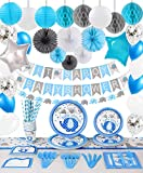 Baby Shower Decorations For Boy - 248 PCS Party Supplies Including Plates,Cups,Tableware,Napkins,Tablecloth,Invitation Card,It's A Boy Elephant Banner, Paper Lanterns, Honeycomb Balls,Balloons,Tissue Paper Fans,Service 24