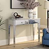 Mirrored Makeup Vanity Table - Console Tables with 2 Storage Drawers Desk for Hallway Foyer Entryway Living Room Bedroom Home Office