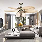 LuxureFan 52Inch Palm Ceiling Fan Lights 3 Speed Remote Premium Light Fixtures 5 Lights 5 Palm Blades Tropical Ceiling Fans Decoration Home/Restaurant