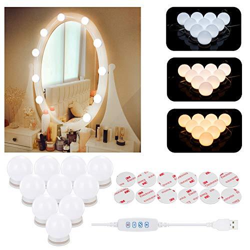 Luci da Specchio a LED in Stile Hollywood,Lampade da Toeletta Aourow con 10 Lampadine...