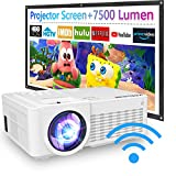 2021 Upgraded, 7500Lux WiFi Projector with 100'' Projector Screen, Projector for Outdoor...