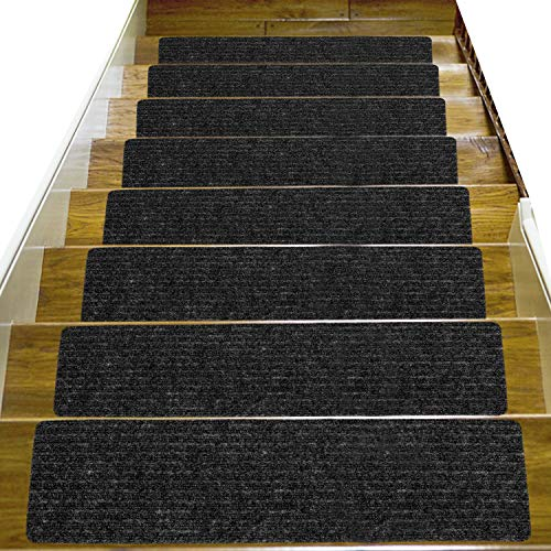 14 Pack-(8'x 30'), Non-Slip Stair Treads Carpet Indoor, Anti Slip Stair Mats, Skid Resistant Rubber Backing for Child Proofing/Pet Safety/Elderly Safety, Dark Gray