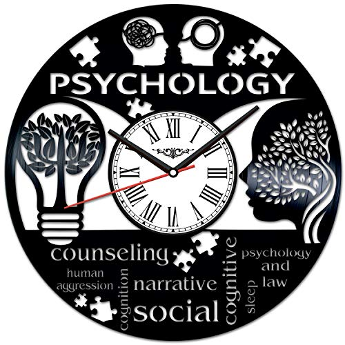 Psychology Vinyl Record Wall Clock Poster - Vintage Home...