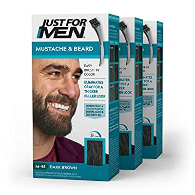 Just For Men Mustache & Beard, Dark Brown (M-45) Pack of 3, isbeard coloringthat makes getting rid of gray facial hair easy. Unlike other dyes, it restores your natural beard color, thicker and fuller look This men's beard coloring product is easy ...