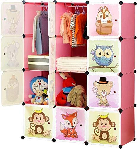 ZXYSHOP Armadio Modulare Bambini, Portatile Guardaroba, Armadietto in Moduli Plastici, 8 Cubo e 2...
