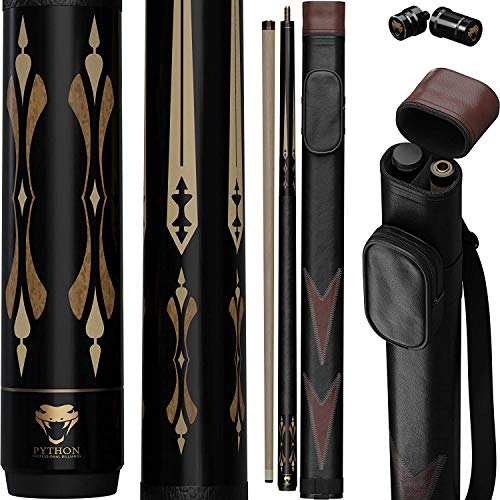 Python - 2- Pieces Pool Cue Stick 100{bcd1f91ed40448744546f6cf6646923119c4fd9e912961631a70f8f9c3a9bf67} Canadian Maple Wood. Professional Billiard Pool Cue Stick with Hard Case and Joint Protectors
