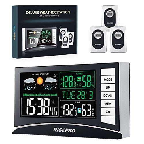 デジタル無線温湿度計|RISEPRO |バックライト/天気予報/目覚まし時計|室内外 置掛両用 3個無線送信機 | ...