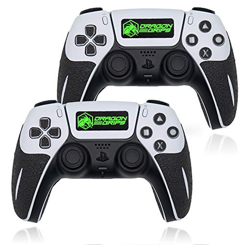Dragon Grips Controller-Griffe für PS5-Controller, strukturiertes Skin Kit Playstation 5 Dualsense, Haptic kompatible Gaming-Controller-Grip-Skins Tasten, Triggers, D-Pad, Schwarz, 22 Stück (2er-Pack)
