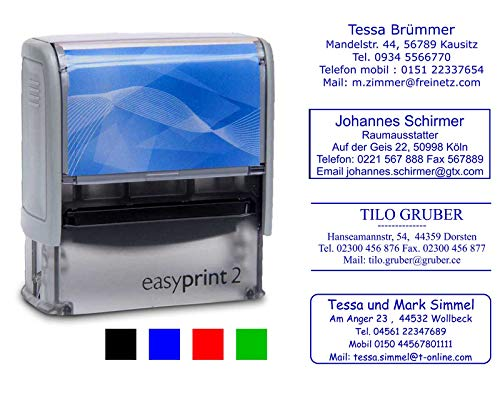 Adress-Stempel Textstempel easyprint 2 - 47x18 mm - 5 Zeilen (Abdruckfarbe blau) Wunschtext Lieferzeit 24-48 h