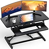 Ergear Standing Up Desk Converter Height Adjustable Sit Stand Desk with Removable Keyboard Tray, 35 Inch Large Desk Riser Ergonomic Gas Spring Dual Monitor Workstation for Home Office