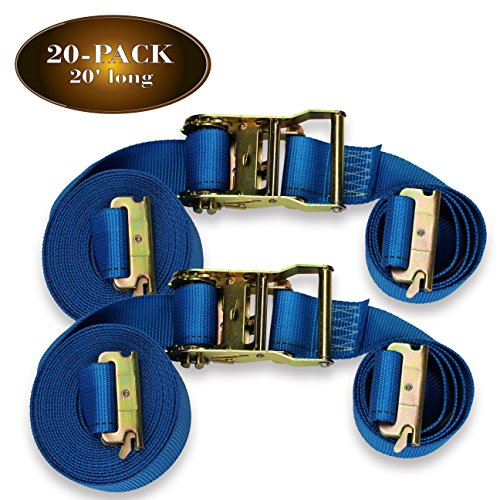 Twenty 2' x 20' E Track Ratcheting Strap Heavy Duty Cargo TieDowns, Durable Blue Polyester Tie-Down Ratchet Straps, ETrack Spring Fittings, Tie Down Motorcycles, Trailer Loads
