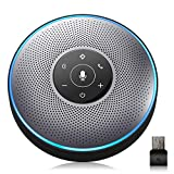 Bluetooth Speakerphone - eMeet M2 Gray Conference Speaker w/Dongle, Idea for Home Office 360º Voice Pickup 4 AI Echo & Noise Canceling Microphones, Skype USB Speakerphone AUX in/Out for up to 8 People