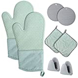 Oven Mitts and Pot Holders Set 8 Pcs, Extra Long Silicone Gloves Kitchen Accessories High Heat Resistant 450 Degree Potholder with Non-Slip Surface Soft Inner Lining for Cooking Baking