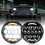 Xprite 105W CREE LED Headlights with Hi/Lo Beam, DRL and Amber Turn Signal, 7 inch Round Headlights Compatible with Jeep Wrangler JK TJ LJ 1997-2018, DOT Approved