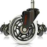 Professional Office Chair Wheels 10mm Stem - FIT IKEA Chairs ONLY - 3'' Replacement Rubber Chair Casters - Best Protection for Your Hardwood Floors Without Any Chair MATS