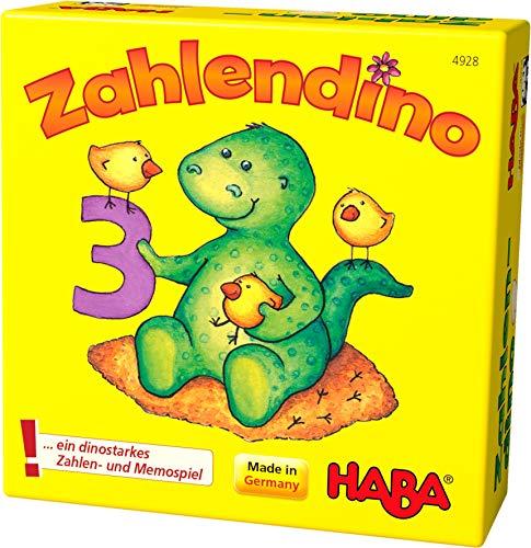 Haba 4928 - Zahlendino Dinostarkes Zahlen- und Memospiel, für 1-4 Kinder von 3-8 Jahren  Zum Zahlen und Mengen lernen, Mit Variante für 1 Kind