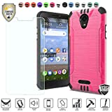 MyFavCell Compatible for Alcatel Insight Case, Alcatel TCL A1 4G Case 5' A501DL Case, with [Tempered Glass Screen Protector], Premium Metallic Brushed Hybrid [Shock Proof] Cover Case (Hot Pink)