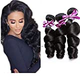 Perstar Human Hair Bundles Loose Wave Bundles Brazilian Virgin Hair Loose Wave 3 Bundles Virgin Remy Human Hair Extensions Unprocessed Virgin Natural Wave Human Hair Bundles(10 12 14)