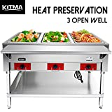 110 V Commercial Electric Food Warmer – Kitma 3 Pot Stainless Steel Steam Table, Buffet Server for Catering and Restaurants